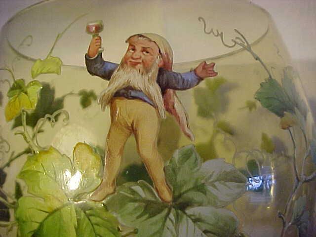 Green wine glass Roemer Enamelled w Elves, Elf, grape vines