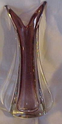 50's Italian Murano glass clear over amethyst unusual shape vase