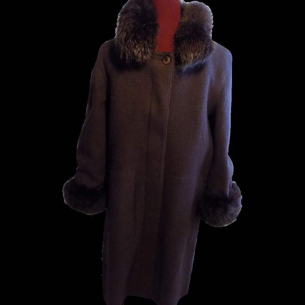 Hilary Radley Classic brown wool Coat, removable lining w Fox fur Trim