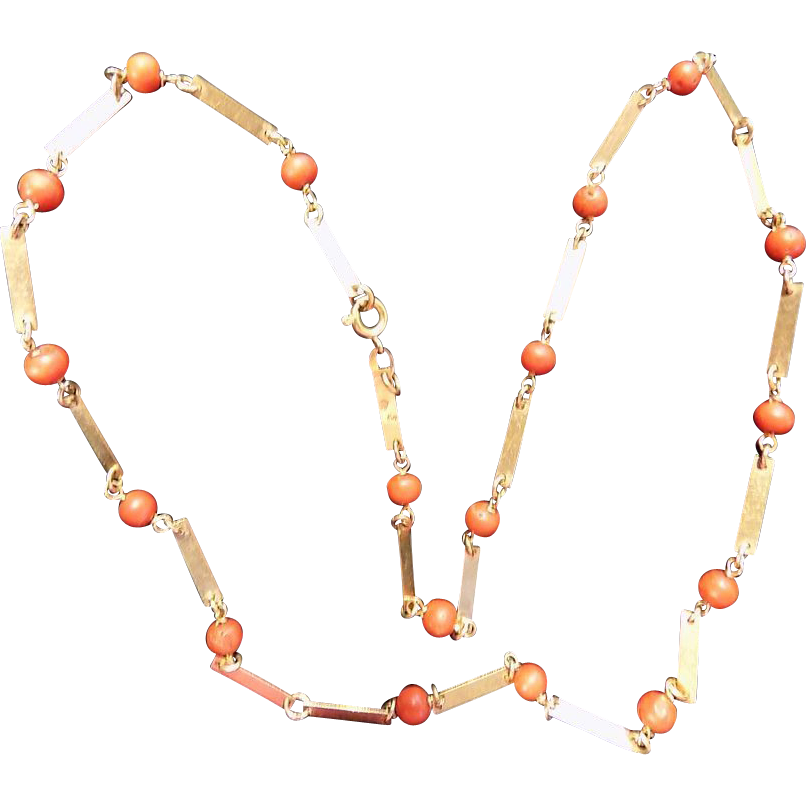 Custom 18k, 750, Yellow gold, coral beads Chain Necklace 20 inches