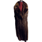 Plucked Natural beaver Fur Vest w Lg Collar, Leather trimmed