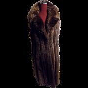 Plucked Natural beaver Fur Vest w Lg Collar, Leather trimmed