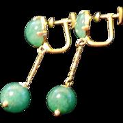 Custom 14k yellow gold Nephrite Jade Bamboo drop earrings