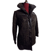 Mod Boho Persian Broadtail lamb DarkBrown Fur leather stroller jacket