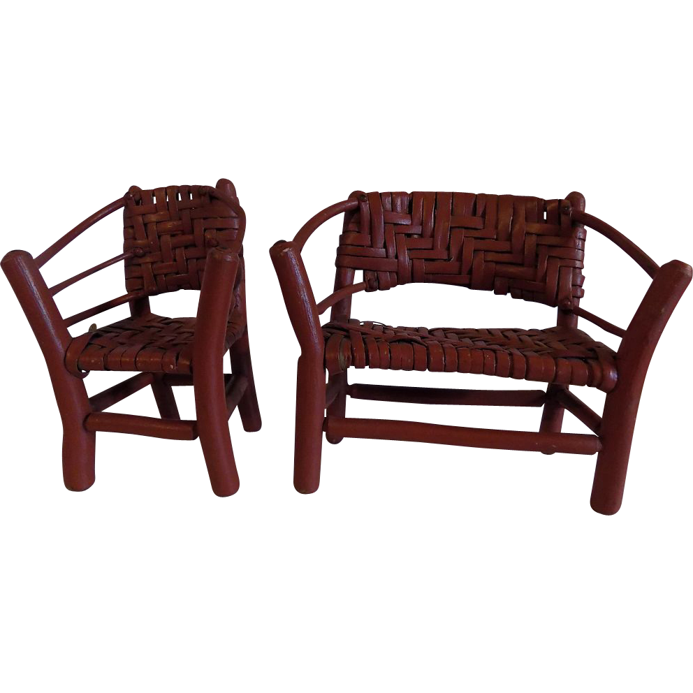 Folk Art Adirondack hand made twig chair w settee rustic