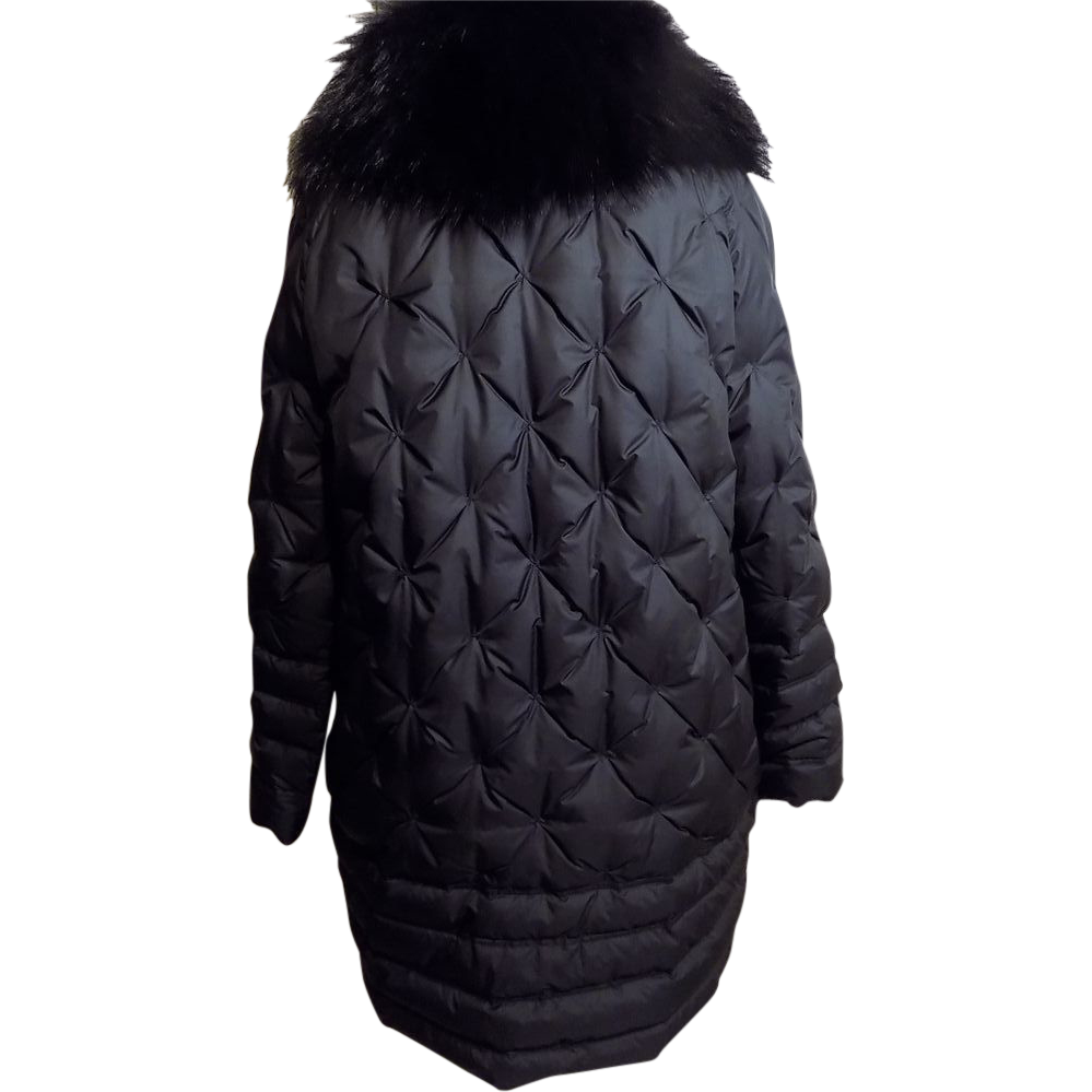 Designer R. Cavalli Quilted Duck Down w Fur Collar Stroller Coat Large