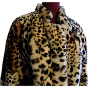Designer look Sheared lamb mouton Fur Faux print Cheetah/leopard jacket X-L