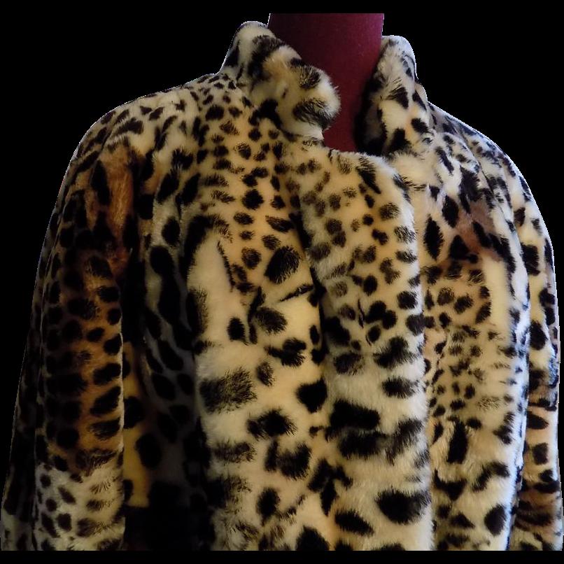 Designer look Sheared lamb mouton Fur Faux print Cheetah/leopard jacket X-L