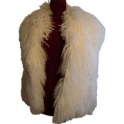 Mongolian long curly Lamb fur designer Style reversible Cream white vest M-L