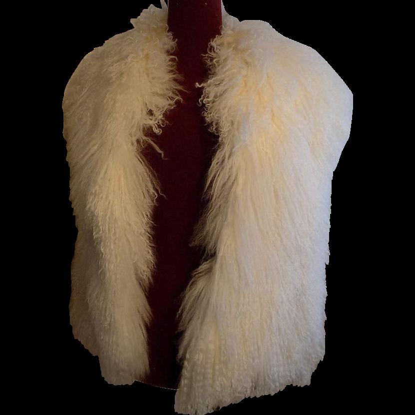 Mongolian long curly Lamb fur designer Style reversible Cream white vest M-L