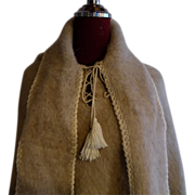 Custom Alpaca wool and white fur ethnic boho pull-on Poncho Shawl