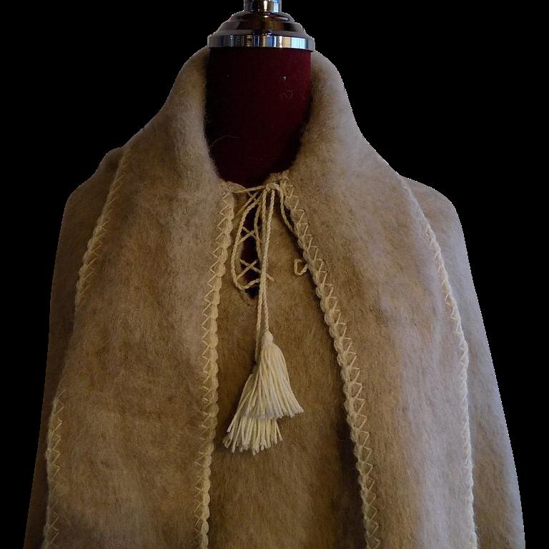 Custom Alpaca wool and white fur ethnic boho pull-on Poncho Shawl