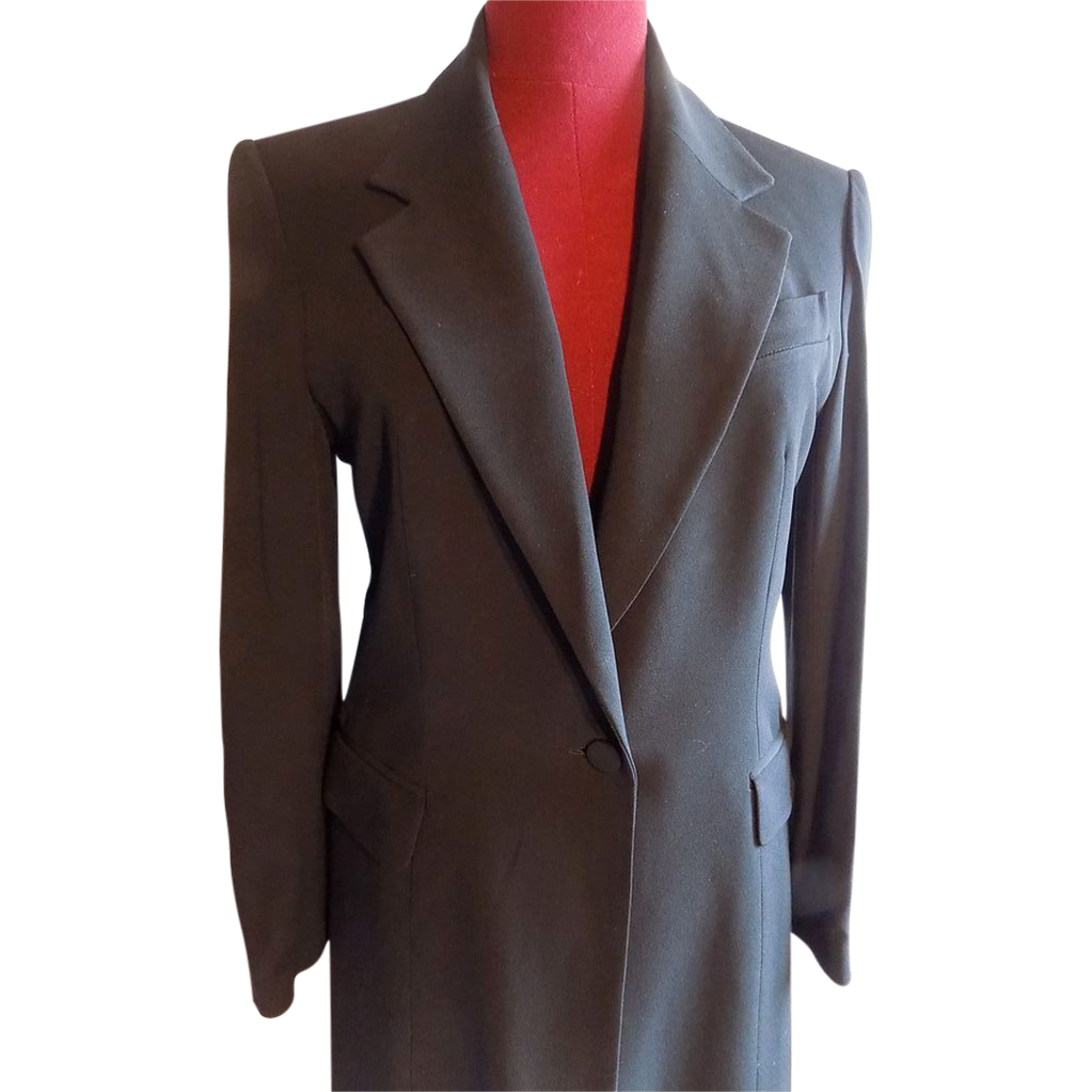 Paris France designer Laetitia Hecht classic long evening coat jacket wool