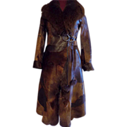 Toscana Italy Italian pony fur leather European designer wrap +tie coat stroller sm.