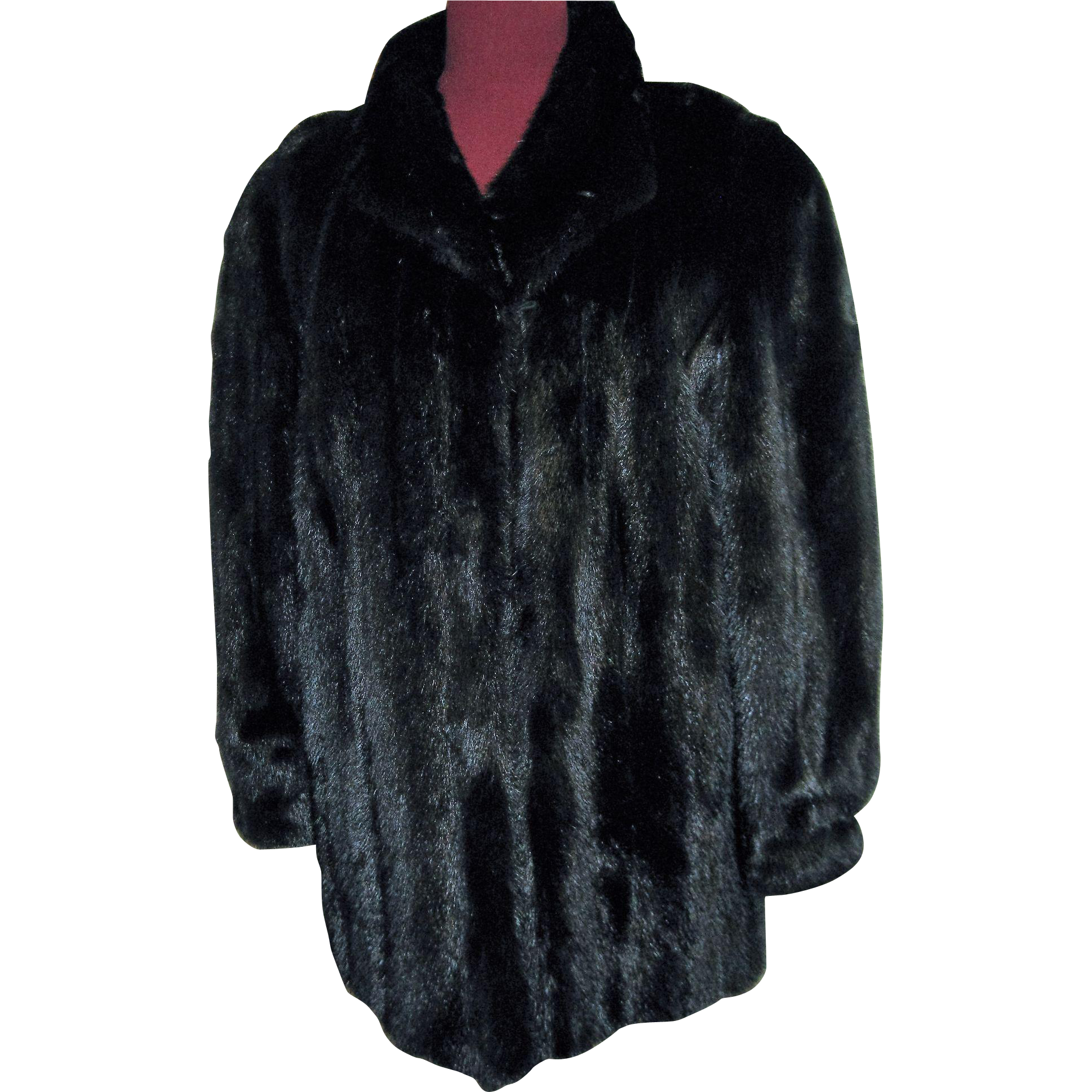 Fab and Perfect Black Mink Fur Jacket Coat L - XL