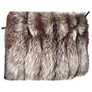 Fluffy rare Silver Fox fur Hand Muff w secret zippered pouch/purse