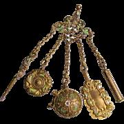 Antique Victorian Art Nouveau Chatelaine Champleve Enamel  with Five Attachments