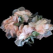 Garland of  Three Vintage Peach Silk & Organdy Millinery Flowers Plus One