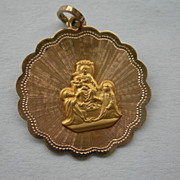18K Gold Religious Medal - Virgin Mary with Baby Jesus
