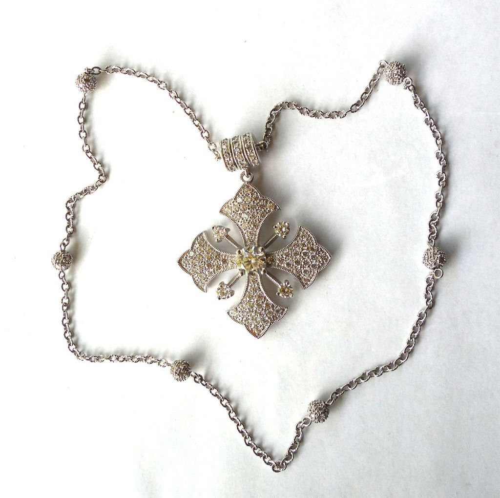 Gorgeous Sterling CZ Maltese Cross Necklace Signed ESPO