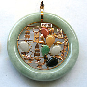 14K Gold Pendant With Multi Colored Stones