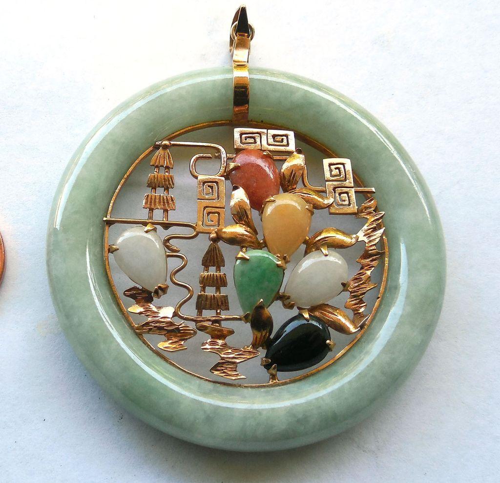 14K Gold Jade Jadite Pendant in Multi Colors