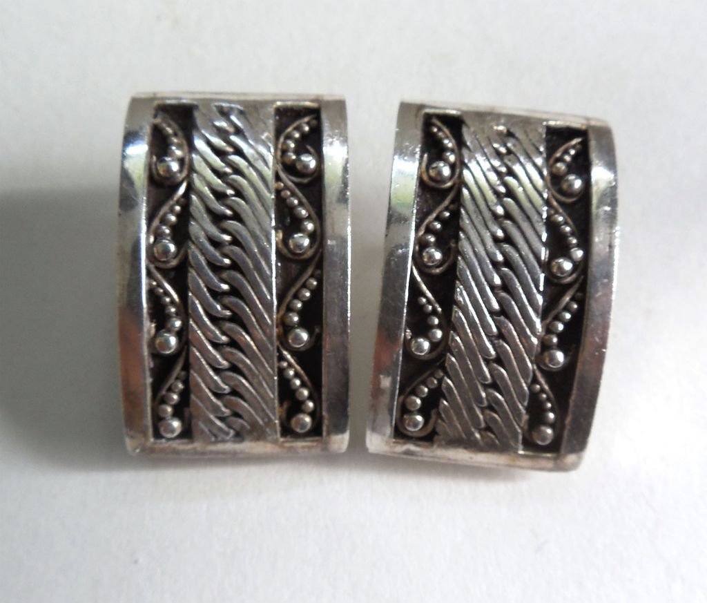 Lois Hill Earrings - Sterling Silver Scrollwork