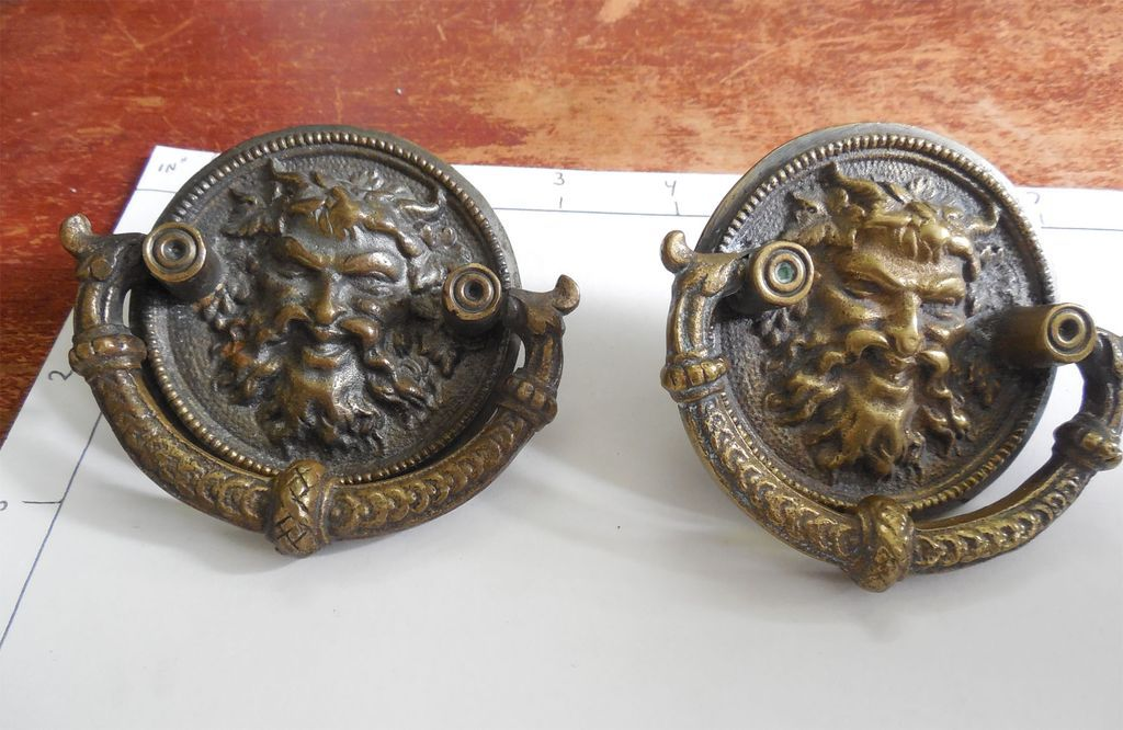large antique brass victorian chimerical drawer pulls sold on ruby lane. Black Bedroom Furniture Sets. Home Design Ideas