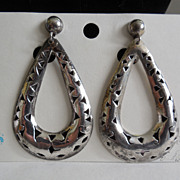Vintage Mexican Sterling Silver Earrings - Cut Out Design - Signed JV