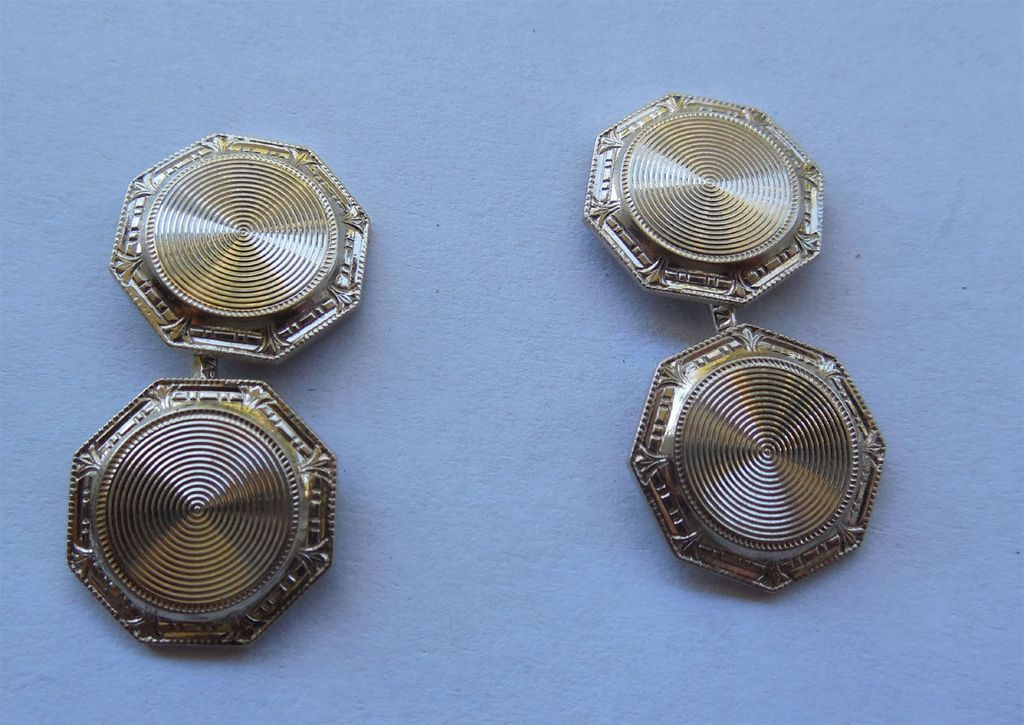 14K Gold Art Deco Cufflink Cuff Buttons - Signed WAB