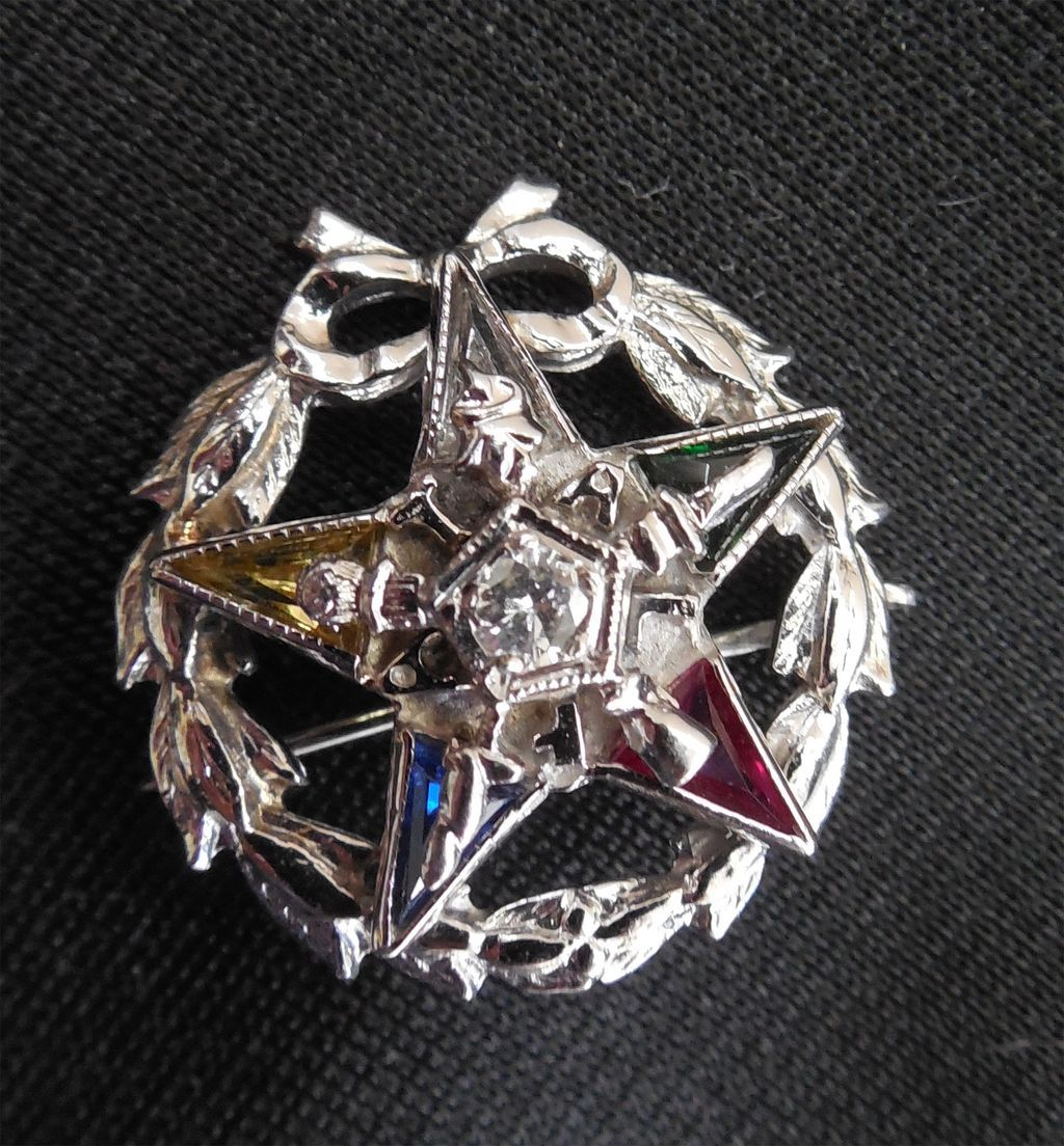 Diamond, Gemstone and 10K Gold Masonic Pin