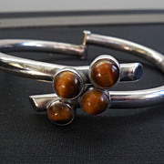 Signed ERE Hinged Bypass Bracelet With Tiger's Eye