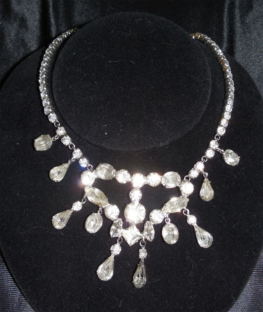 Dramatic Vintage Rhinestone Bib Necklace