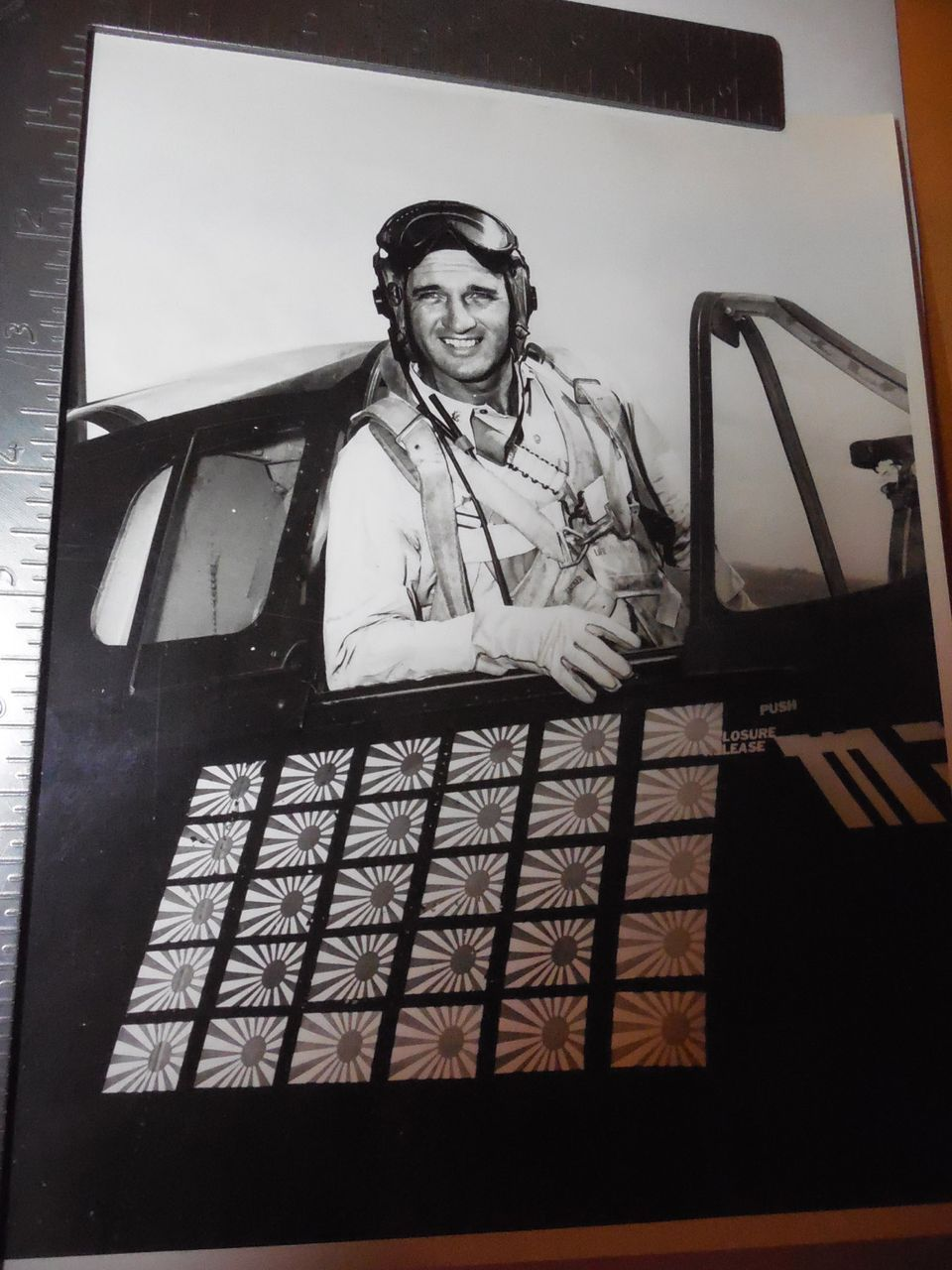 Rare Original 8x10 Photo WWII  US Navy's All Time Leading Flying Ace Pilot David McCampbell Plane Official US Navy Photo