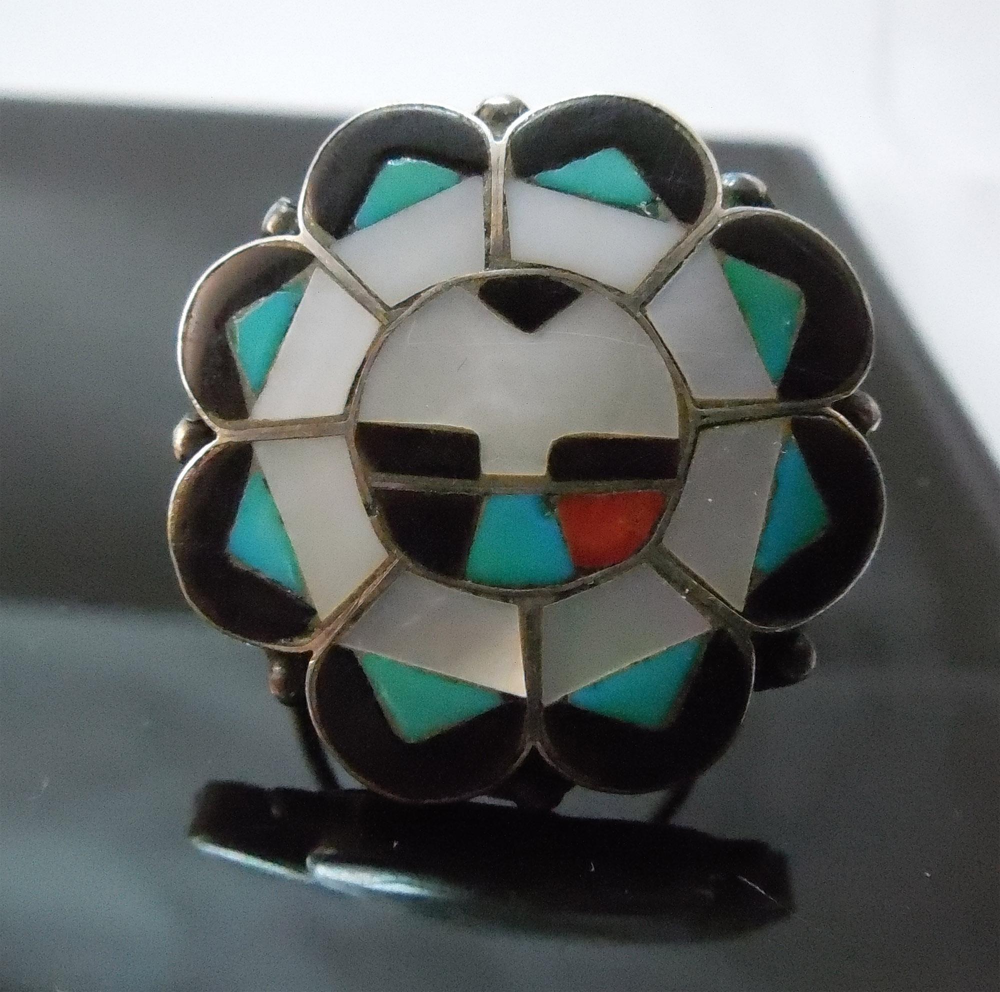 Vintage Native American Zuni Sun God Ring - Large Size - Nice Detail!
