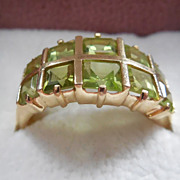 14K Gold Ring With Green Stones