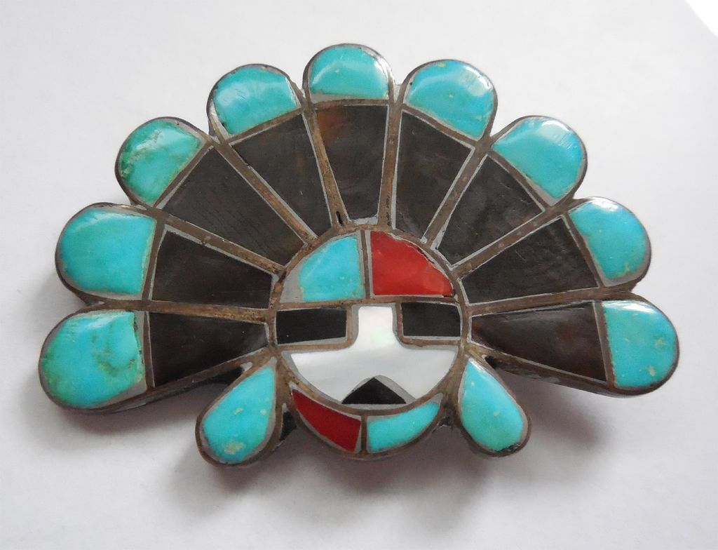 Native American Zuni Sun Chief Headdress Brooch