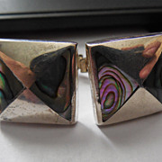 Vintage Mexican Sterling Silver and Abalone Cufflinks Taxco - Signed FRA