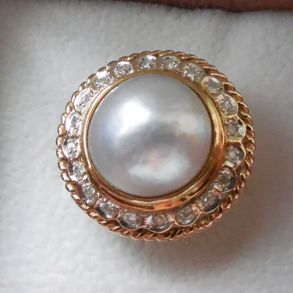 14K Gold Mabe Pearl Ring Surrounded By Diamonds
