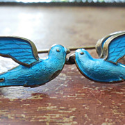 Rare Signed Bernard Meldahl Kissing Bird Brooch In Sterling and Enamel