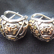 John Hardy Sterling & 18K Gold Earrings Fleur De Lis Dots