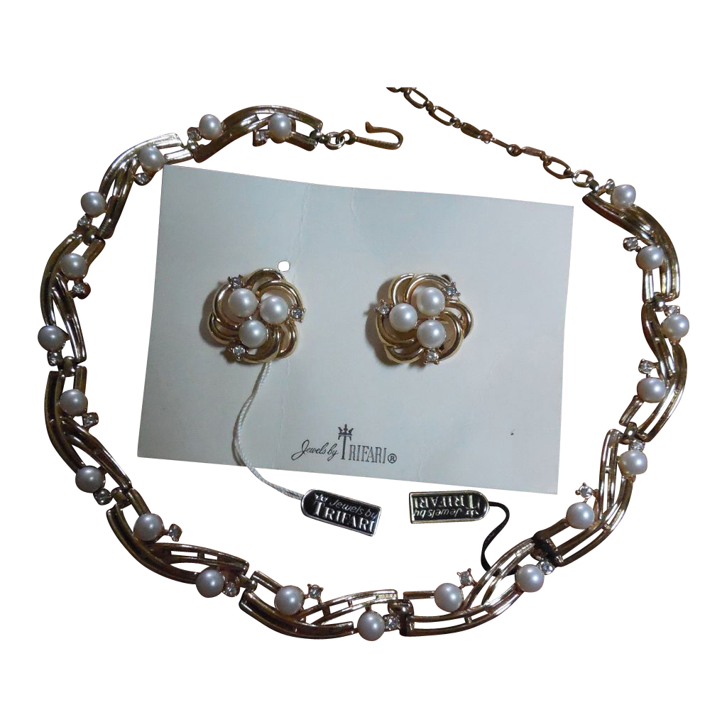 Jewels By Trifari Faux Pearl and Rhinestone Necklace and Earring Set