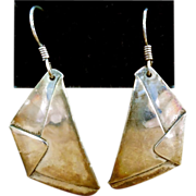 Sterling Silver Designer Signed Origami Earrings - Signed Cassius