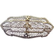 Art Deco 14K Gold Filigree Brooch With White Sapphire Stone