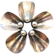 Lovely Denmark Sterling Arts & Crafts Flower Brooch - N.E. From