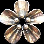 Lovely Denmark Sterling Arts & Crafts Flower Brooch - N.E. From