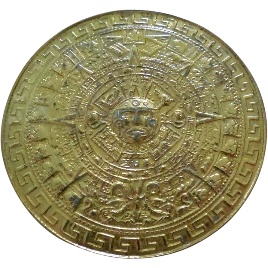 Mexican Sterling Silver Aztec Calendar Brooch Pendant Signed Rex