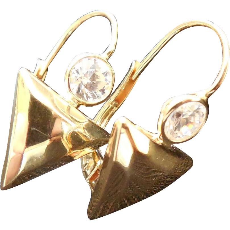 14K Gold Earrings With Clear Stones - Italy Signed RBF