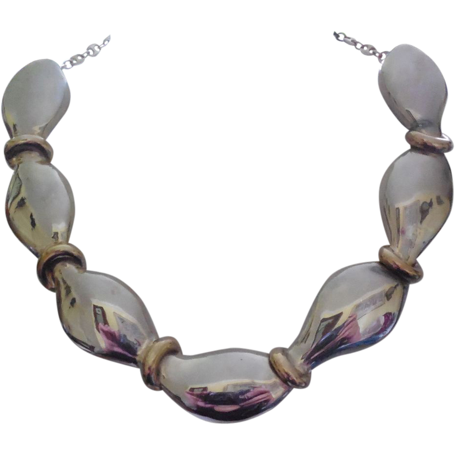 Sterling Silver 925 Thick Two Tone Collar Necklace