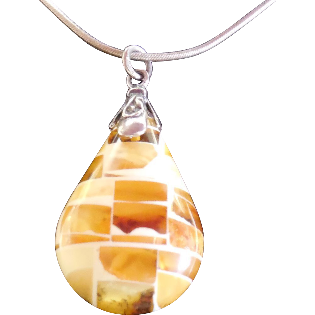 Mosaic Amber Pendant Sterling Silver Necklace